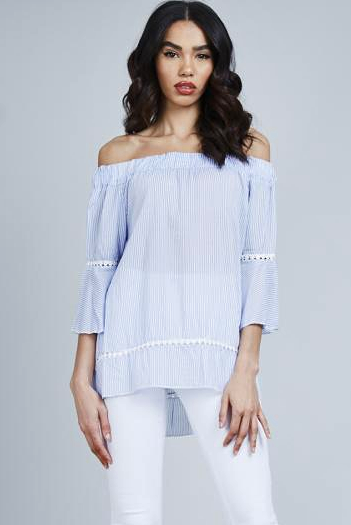 Light Blue Stripe Bell Sleeve Off The Shoulder Top