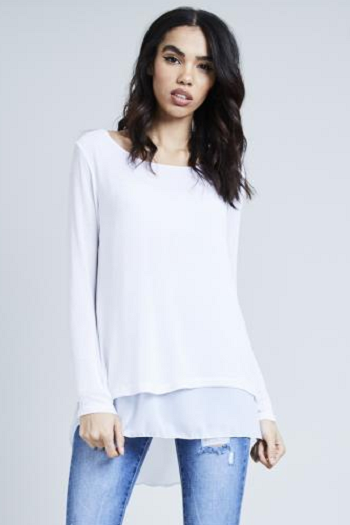 White Fine Knit Chiffon Bow Back Top