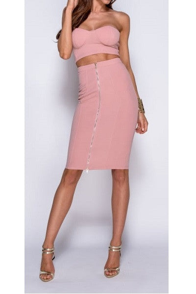 Rose Pink Bralet Crop Top and Zip Front Pencil Skirt