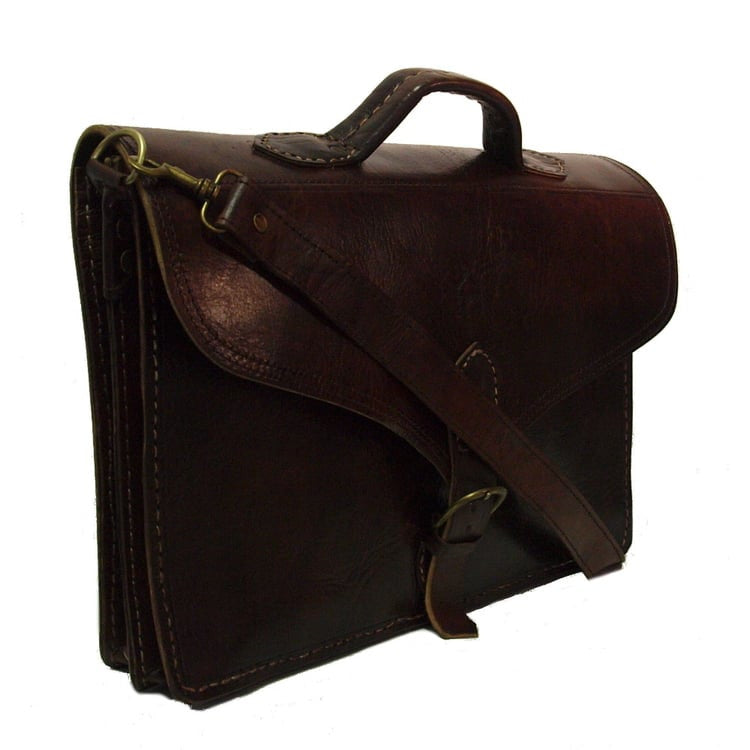 Berber Leather Large Marrakech Satchel Bag - Dark Brown