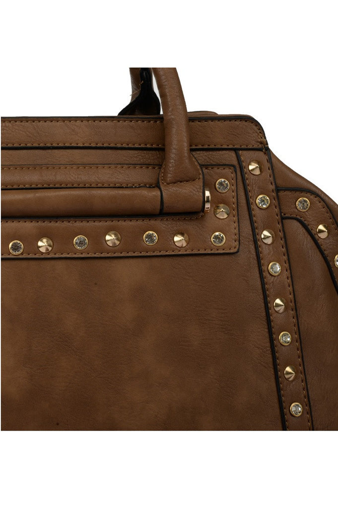 Camel Rivets & Studded Grab / Shoulder Bag
