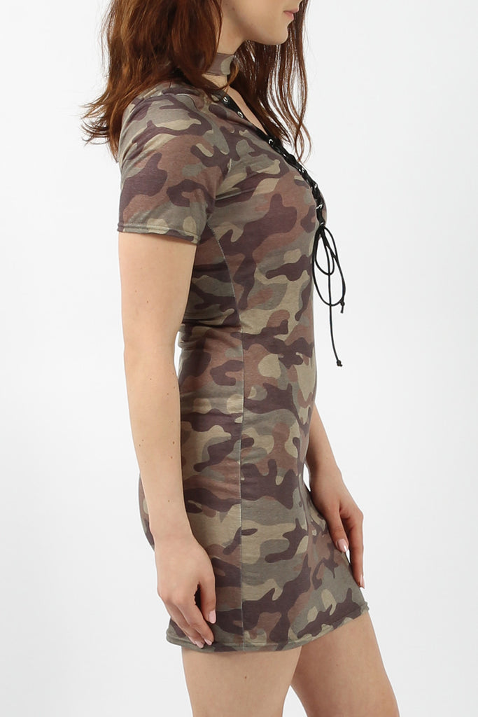 Khaki Camouflage Print Lace and Eyelet T-Shirt Dress