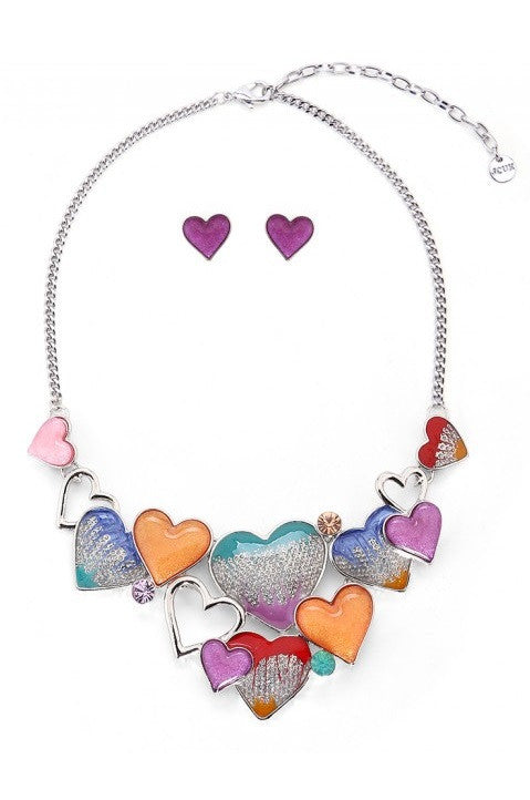 Multi Candy Coloured Hearts Necklace & Earrings Set