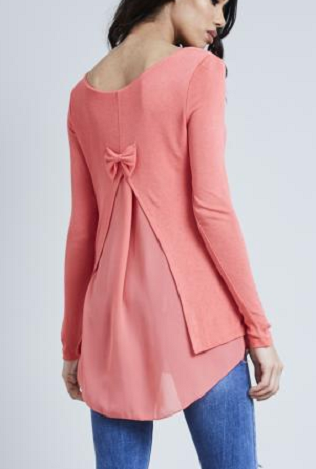Coral Fine Knit Chiffon Bow Back Top