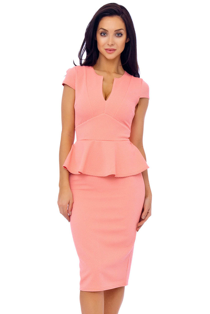 ... Light Coral Textured Woven Peplum Dress ... c313678b9