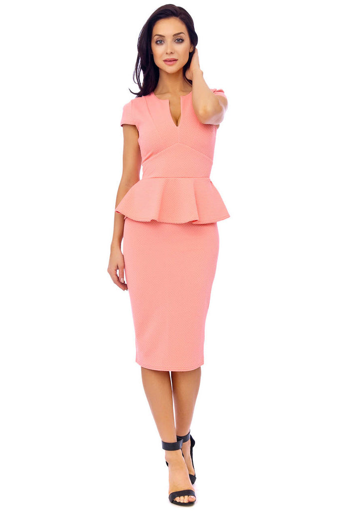 Light Coral Textured Woven Peplum Dress