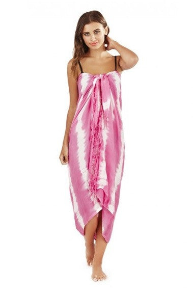 Tie Dye Striped Sarong Cover Up