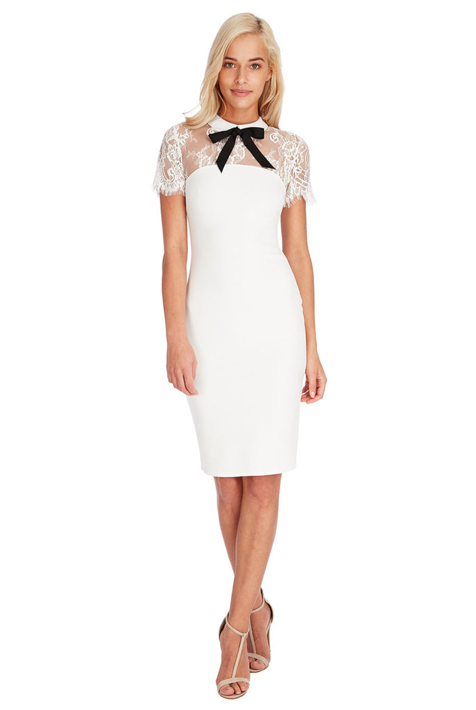 Cream Bow Collar Lace Midi Dress