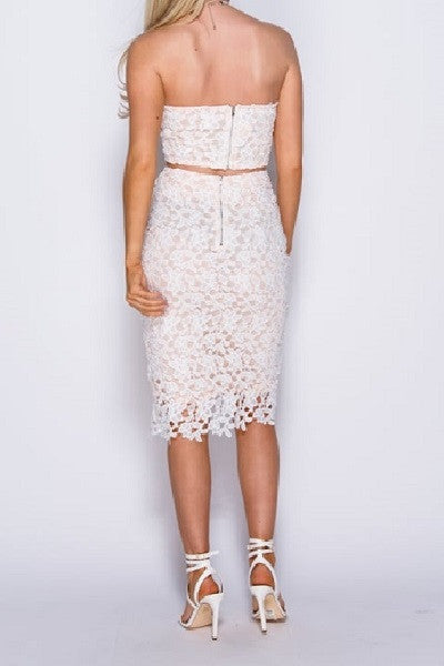 White and Nude Crochet Lace Bandeau Top and Midi Skirt