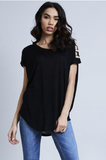 Black Diamante Shoulder Detail Top