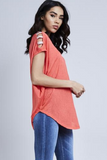 Coral Diamante Shoulder Detail Top