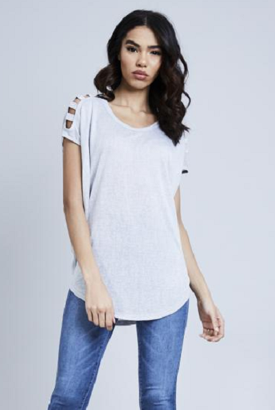 Grey Diamante Shoulder Detail Top