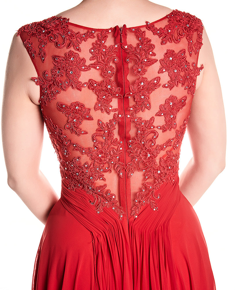 Daisy - Red Lace Bodice With Crystal Bodice