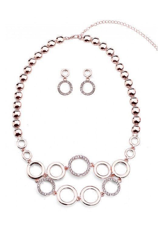 Rose Gold & Diamante Circles Necklace & Earrings Set