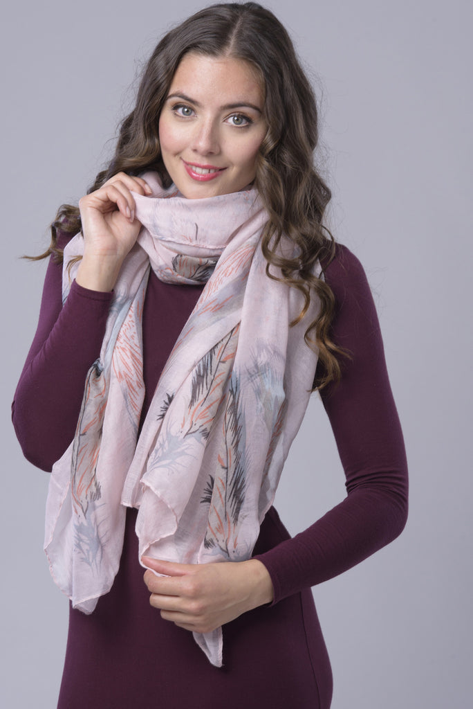 Pink Feather Print Chiffon Scarf