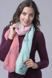 Peach/Green Two Tone Butterfly Chiffon Scarf
