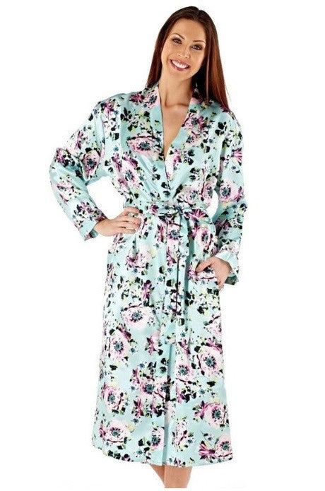 Floral Green Satin Dressing Gown