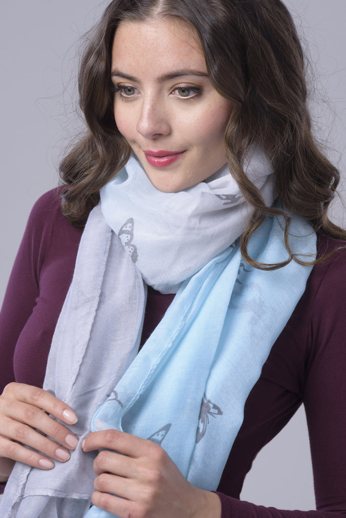 Blue/Grey Two Tone Butterfly Chiffon Scarf