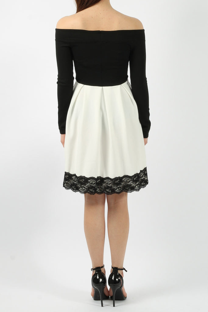 Ivory and Black Long Sleeved Bardot Lace Skater Dress
