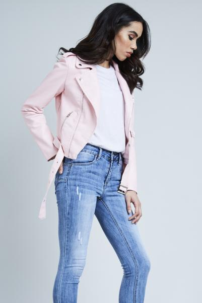 f5459e00b170 Baby Pink Leather Look Biker Jacket – Bridget s Boutique
