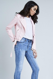 Baby Pink Leather Look Biker Jacket