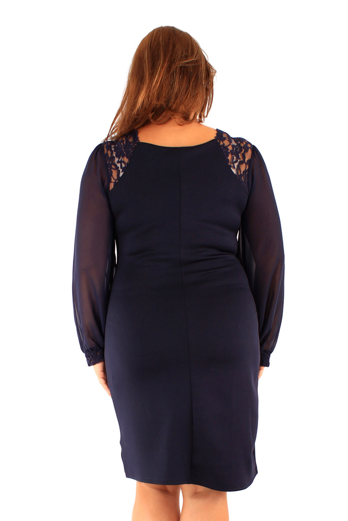Navy Lace Shoulder and Cuff Detail Dress