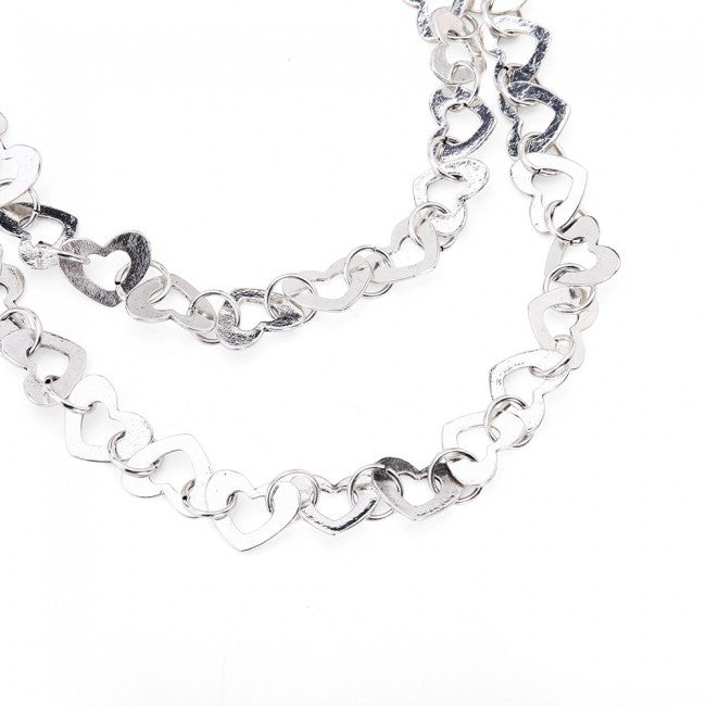 Silver Hearts Double Row Necklace