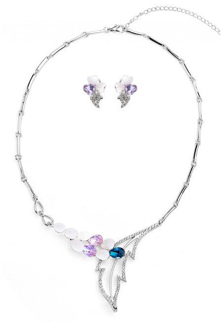 Silver & Swarovski Crystal Leaf Necklace & Earrings Set