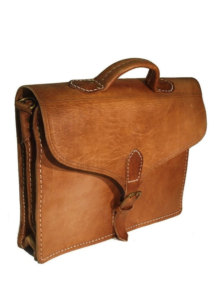 Berber Leather Large Marrakech Satchel Bag - Tan