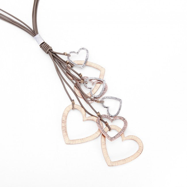 Rose Gold & Silver Hearts Taupe Multi Cord Necklace