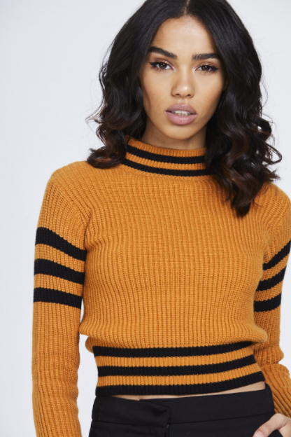 Cropped Striped Knitted Jumper