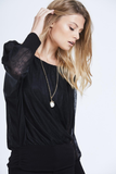 Black Sheer Long Sleeve Necklace Top