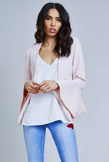 Baby Pink Fluted Sleeve Tailored Blazer