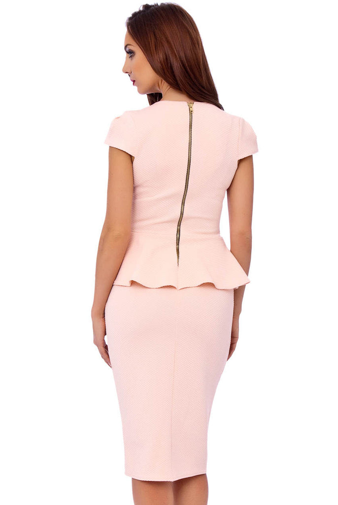 Nude Textured Woven Peplum Dress