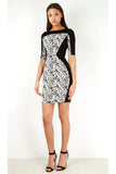 Monochrome Paisley Contrast Bodycon Mini Dress