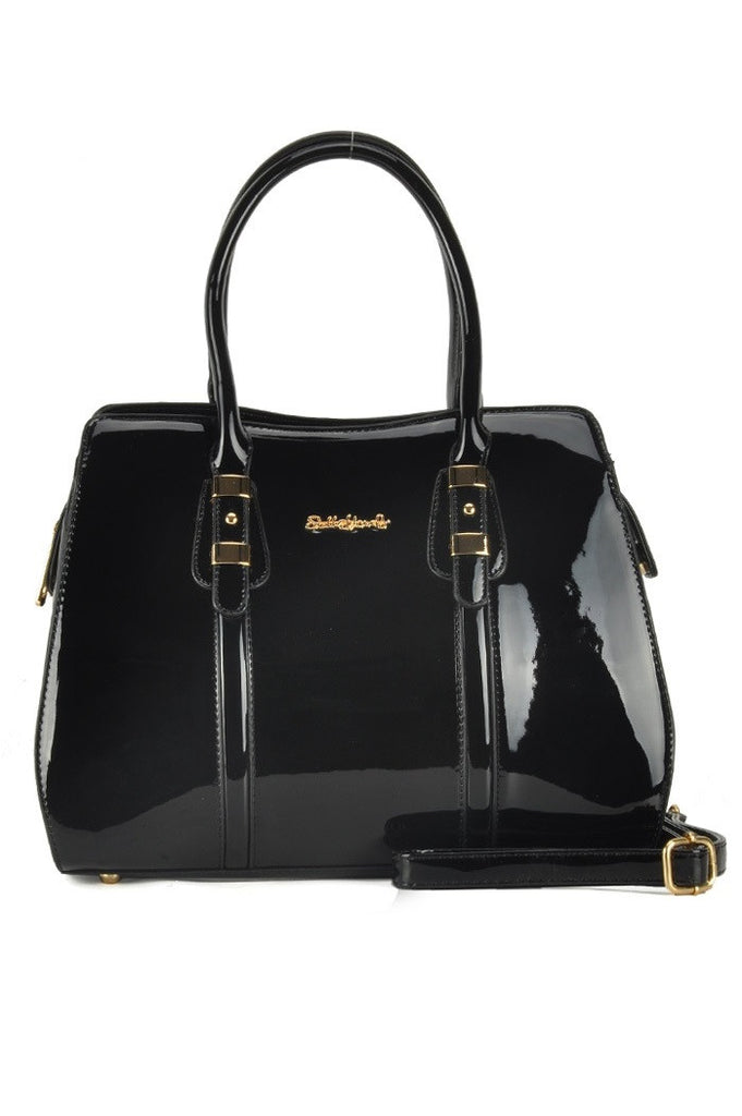 Black Glossy Patent Grab / Shoulder Bag