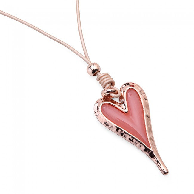 Rose Gold & Peach Heart Pendant Cord Necklace