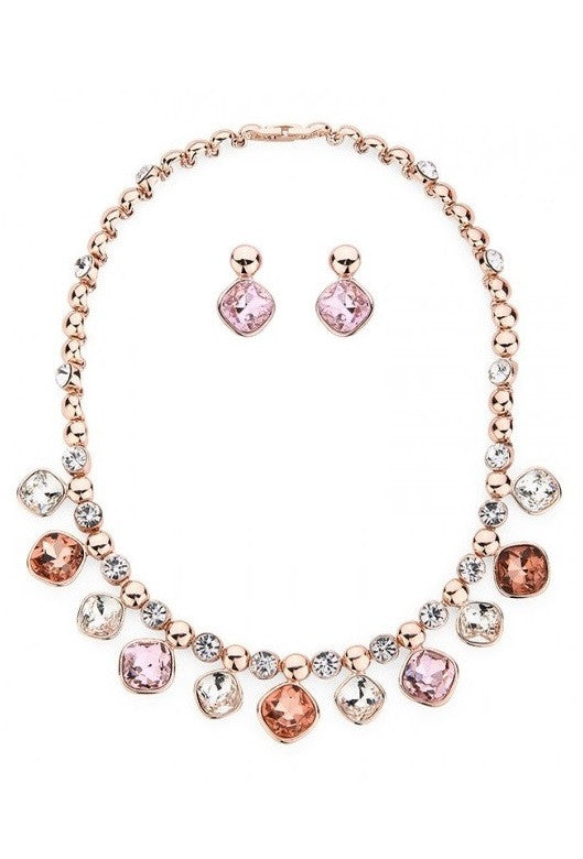Rose Gold & Multi Tone Gem Necklace & Earrings Set