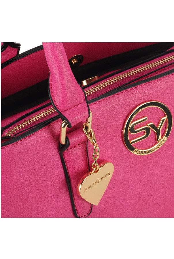 Fuschia Heart Pendant Grab / Shoulder Bag