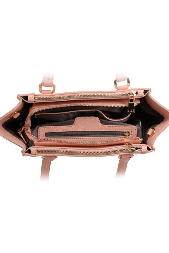 Pink Square Rivets Shoulder Bag