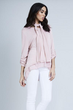 Baby Pink Button Detailed Split Back Scarf Top