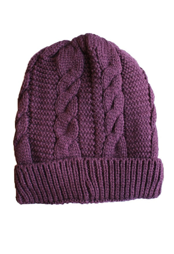 Women's Cable Knit Sherpa Fleece Beanie Hat - Purple