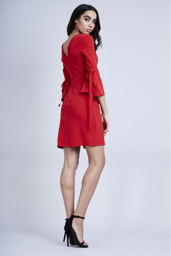 Red Tie Bell Sleeve Midi Dress