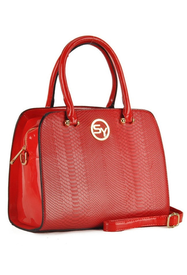 Red Embossed Snakeskin Grab / Shoulder Bag
