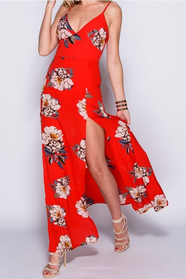 Full Length Front View of Red Floral Print Thigh Split Maxi Dress