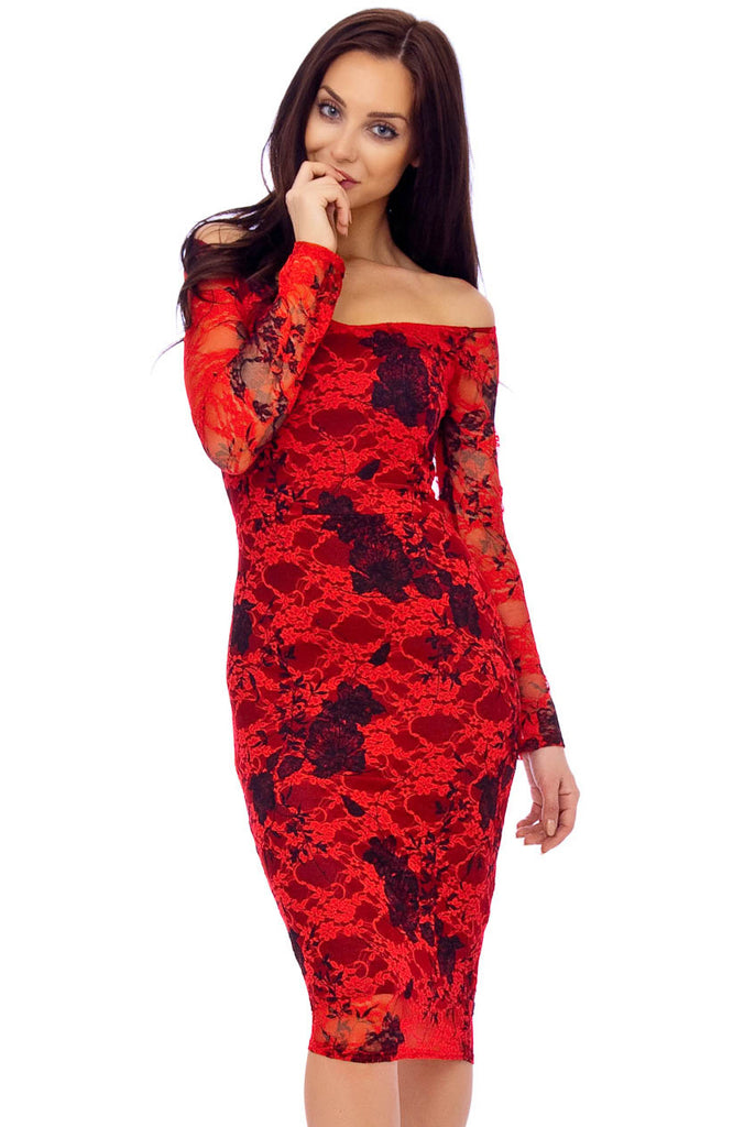 Red Floral Lace Long Sleeve Midi Dress