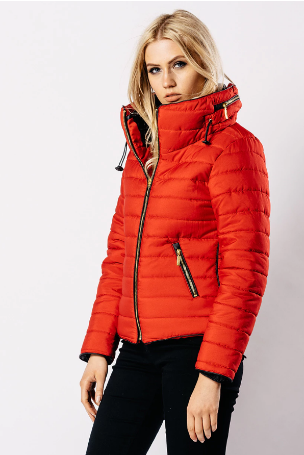 Red Padded Puffer Jacket