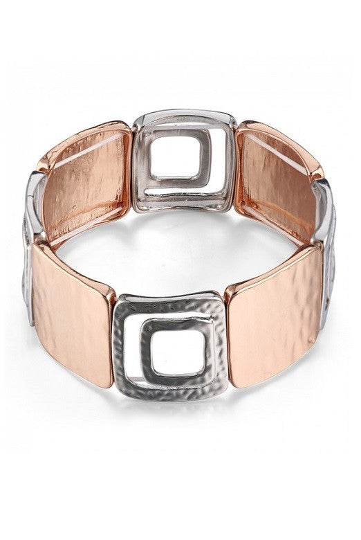 Rose Gold & Silver Tone Geometric Hammered Stretch Bracelet