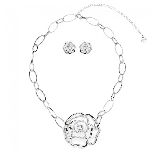 Silver Tone Rose Silhouette Necklace & Earrings Set