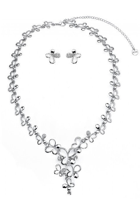 Silver Butterfly Silhouette Necklace & Earrings Set